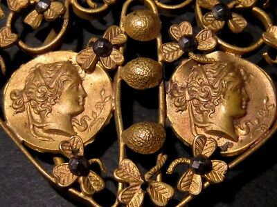 Beautiful Vintage Compact Bronze Gilt Buckle, Ancient Coins Replicas!!! 2