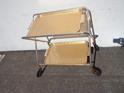 Mid Century Bar Cart Woodmet Folding Gold Copper Brass Vintage MCM Tea Serving 8