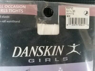 BNIP Danskin All Occasion Girl's 51 White Footed Tights Size Small (4-6) 2