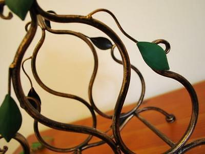 Wrought Iron French Vintage Swirly Vine Wine Bottle Rack Stand