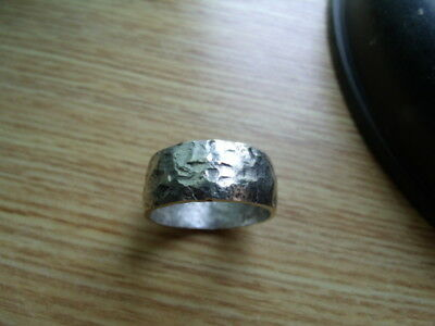 HAND CRAFTED HAMMERED 925 SILVER VIKING RING SIZED Made from Sterling Half Crown 3