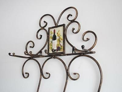 Wrought Iron French Style Wine Bottle Holder Glass Wall Wine Rack