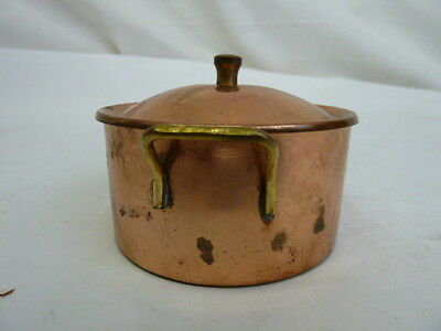 Vintage Toy Copper Plated & Brass Pan with Lid