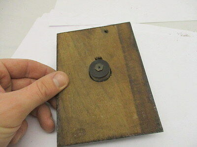 Vintage Brass Door Bell Porcelain with Wooden Surround Architectural Antique Old 3