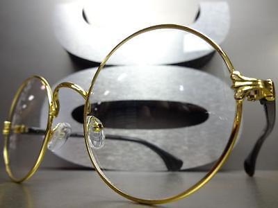 ccb534fadb ... Hommes Femmes Classique Style Vintage Verre Transparent Lunettes Rond  or et Noir 2