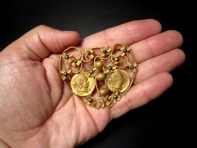 Beautiful Vintage Compact Bronze Gilt Buckle, Ancient Coins Replicas!!! 8