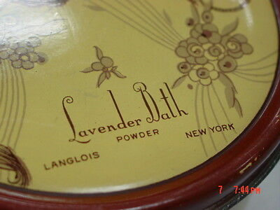 Vintage Dusting Powder Box Lavender Bath Langlois EMPTY Metal Tin Art Deco 6