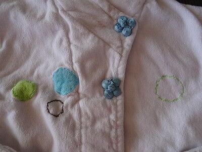 Peignoir kimono blanc  en éponge motif ronds et fleurs CARRE BLANC Taille 2 ans 6