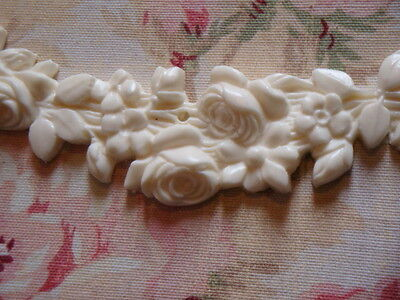 FLEXIBLE ROSE FLORAL SWAG WITH BOWS 3PCS. Furniture Applique Architectural Trim 3