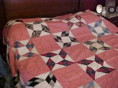Vintage 1920/30s  QUILT, LOTSA PATTERNED RED &  BLACK EMBROIDERY 5