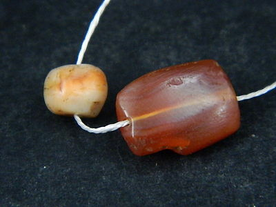 Ancient Carnelian 2 Beads Roman 200 BC    #B1137 2