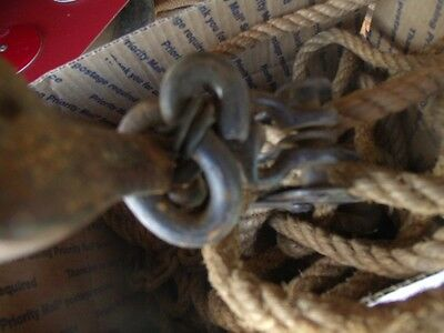 """Vintage 2 Different  Small Pulley Stretcher 1/2"""" thick 60 ft Manila Rope 11"""