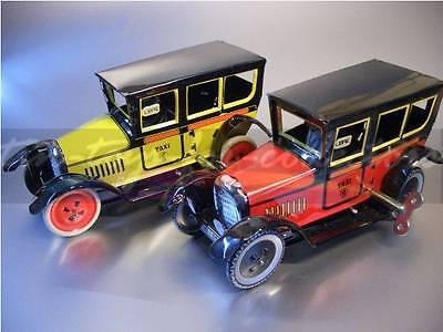 2 Paya Taxi Rot + Gelb  Lithographiertes Blech Mit Uhrwerk 3