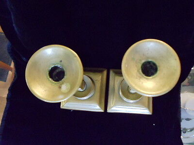 Antique Pair Brass Possibly Russian Candle Stick Holder  Imperial 4