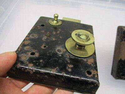 Vintage Iron Lock with Brass Sliding Latch Bolt Handle Original Key Antique 7