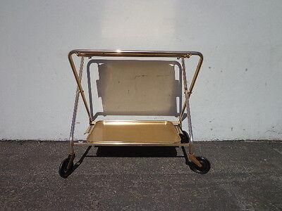 Mid Century Bar Cart Woodmet Folding Gold Copper Brass Vintage MCM Tea Serving 12
