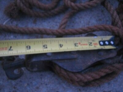 """Vintage 2 Different  Small Pulley Stretcher 1/2"""" thick 60 ft Manila Rope 7"""