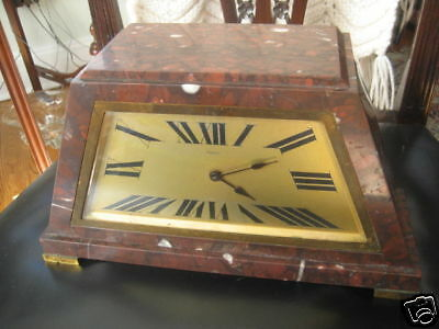 Antique Rouge Marble French Art Deco Clock 2