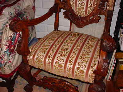 Pair Of Antique 0Ak Carved Throne Or High Back Upholstered Chairs 4