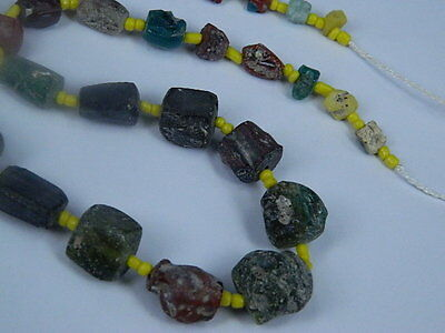 Ancient Fragment Glass Beads Strand Roman 200 BC No Reserve    #ML1119 2
