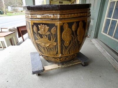 Large Terracotta Glazed  Planter With Floral   Decorations 2