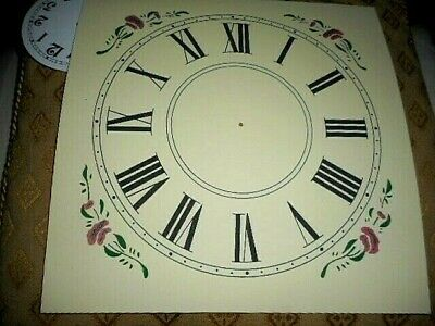 "Large Paper (Card) Clock Dial - 7"" M/T - Floral Corners - CREAM - Parts 2"