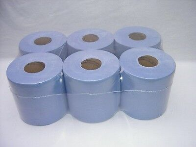 6 Pack 2 Ply Blue Embossed Centre Feed Paper Wipe Rolls 5
