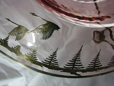 BEST Antique Deco Signed Rockwell Silver Overlay Geese Vintage Optic Glass Dish 12
