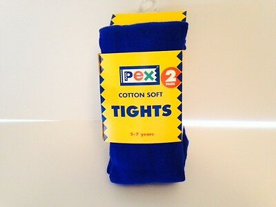 Royal Blue Tights Girls 2 Pair Pack Cotton Soft Great For School : All Sizes 3
