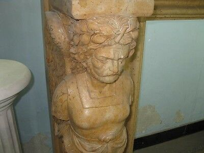 Monumental Hand Carved Figural Estate Fireplace Mantle - Hb32 5