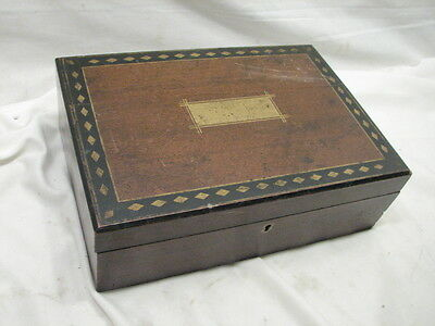 Antique Wooden Lap/Field Desk Writing Case Wood Box Tool Tole Painted 6