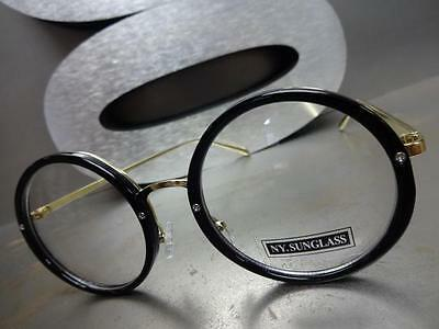 76c29abcbcae ... CLASSIC VINTAGE 50 s RETRO Style Clear Lens EYE GLASSES Round Black    Gold Frame 7