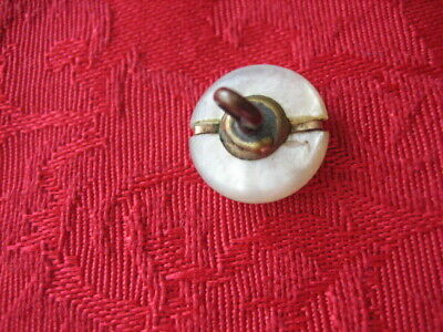 "Vintage Small 1/2 "" MOP Mother Of Pearl Shell Button, Brass Band, Shank - PD124 4"