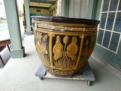 Large Terracotta Glazed  Planter With Floral   Decorations 4