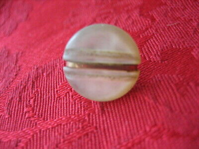 "Vintage Small 1/2 "" MOP Mother Of Pearl Shell Button, Brass Band, Shank - PD124 3"