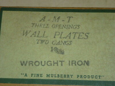 Nos! A-M-T Interchange 2-Gang Hammered Wrought Iron Finish Wall Plate, 6-Hole 3 • CAD $8.18