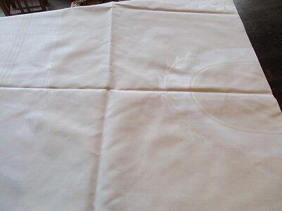 schöne alte Halbleinen Damast Tischdecke Tafeltuch pastellgelb weiss 3