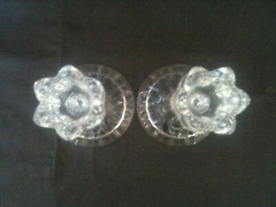 """Pair Mikasa 5"""" Tall Lead Crystal Spring Ritual Candle Holders Original Stickers 3"""