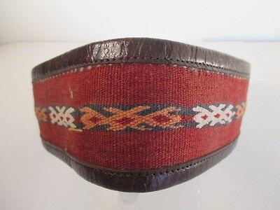 DANNIJO  Red Crochet Brown leather Morocco Waist Belt Sz 32.5 Long 8