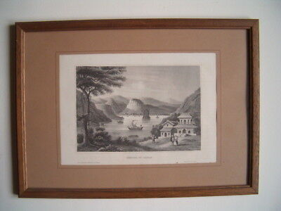 ORIGINAL STAHLSTICH / JAPAN um 1860 - SHIMODA - SHIZUOKA  - gebr. im Rahmen