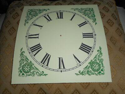 "Large Paper (Card) Clock Dial - 7"" M/T - Green Corners - MATT - Parts/Spares  * 3"