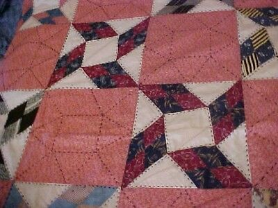 Vintage 1920/30s  QUILT, LOTSA PATTERNED RED &  BLACK EMBROIDERY 8