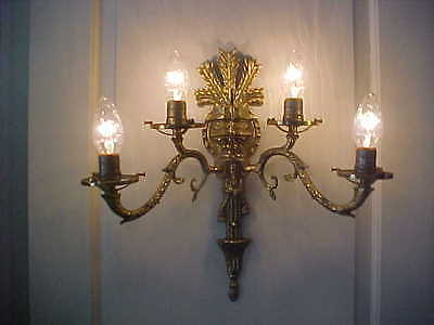 "Wall Sconces Antique 4 Light Brass Rewired 19"" High 19"" Wide (Lot Of 2) 3"