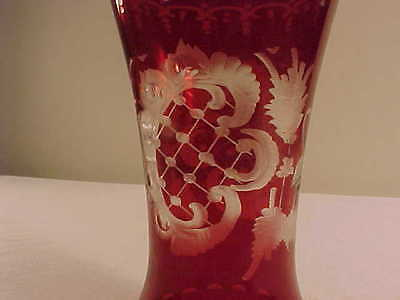 "PETITE /  Antique Vintage Bohemian Vase - Red To Clear 5-1/4"" SMALL and CUTE"