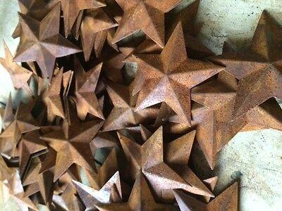 "50 Dimensional Rusty Barn Stars 2.25 in 2 1/4"" Primitive Metal Rust 57mm Craft * 9"