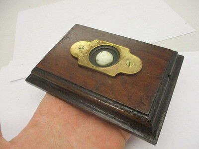 Vintage Brass Door Bell Porcelain with Wooden Surround Architectural Antique Old 4