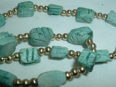 Vintage Egyptian Revival Faience Bead & Scarab Hieroglyphics Necklace 4