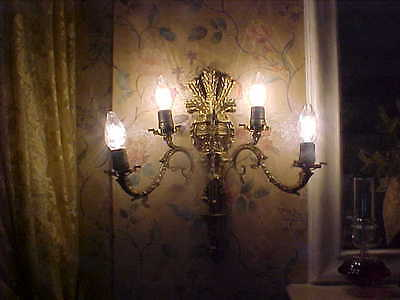 "Wall Sconces Antique 4 Light Brass Rewired 19"" High 19"" Wide (Lot Of 2) 5"