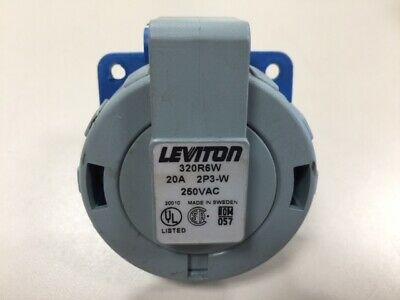Leviton 320R6W Pin & Sleeve Receptacle 20 Amp 250VAC 2 Pole 3 Wire 2