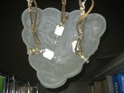 antique (PARIS STAR) ART DECO chandelier Ceiling Light Fixture FROSTED Glass 5